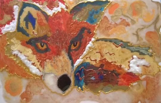 mixed media fox