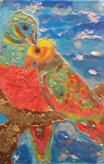 mixed media parrots